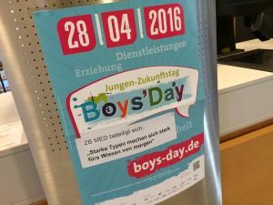 Foto des Begrüßungsschilds am Boys'Day 2016