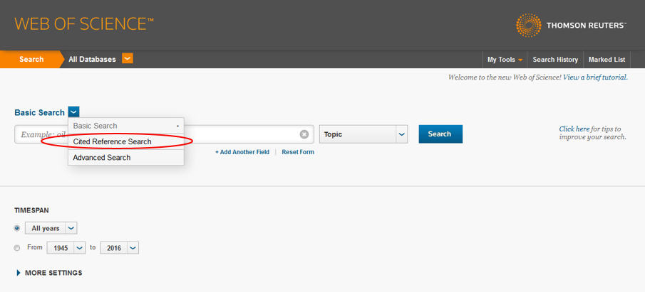 Screenshot von Web of Science, Cited Reference Search