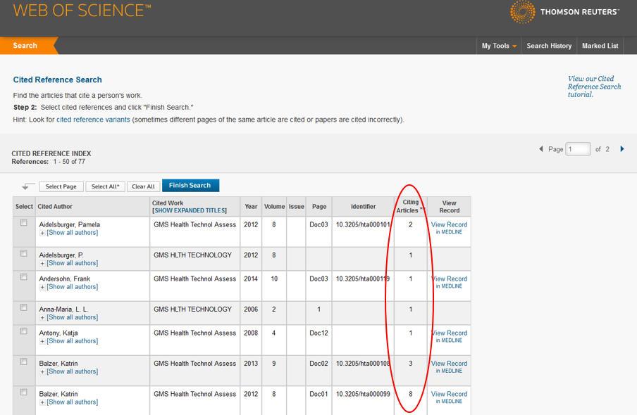Screenshot von Web of Science, Durchsicht der Trefferliste