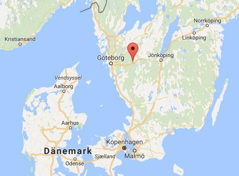 Kartenausschnitt der Lage von Borås in Schweden