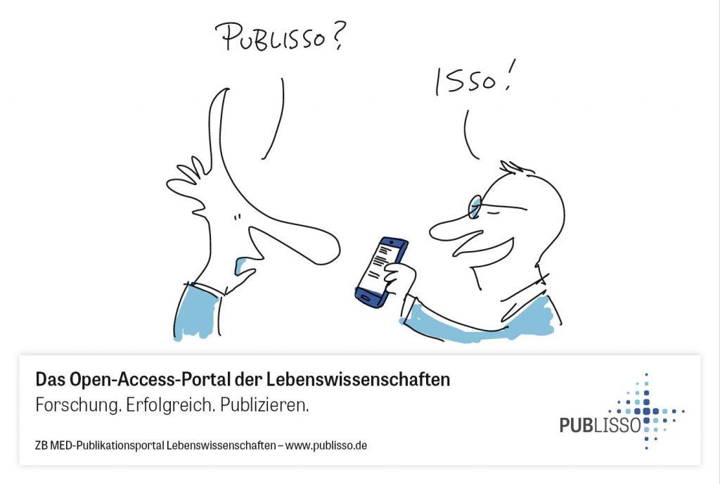 """Ein Mann zeigt einem anderen sein Smartphone. Er fragt: """"Publisso?"""", der andere antwortet: """"Isso!""""."""