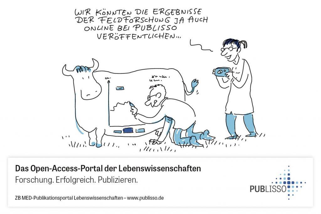 Wissenschaftler beschriftet eine Kuh mit Forschungsergebnissen. Kollegin sagt: Wir könnten die Ergebnisse der Feldforschung ja auch online bei PUBLISSO veröffentlichen.