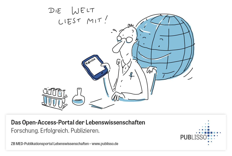 Wissenschaftler liest auf seinem Tablet. Dahinter ist eine lachende Weltkugel. Text: Die Welt liest mit!