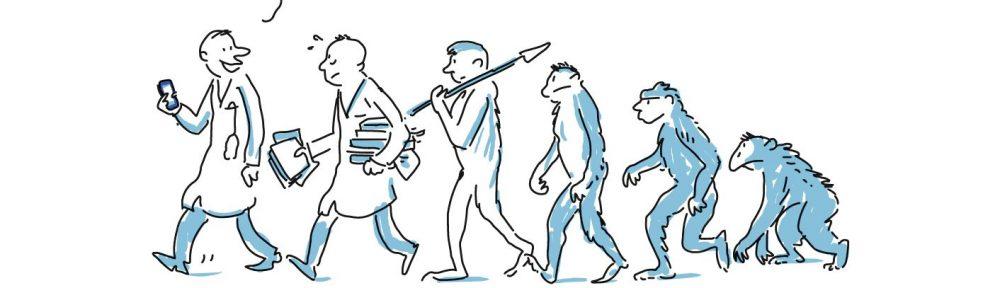 Vom Affen zum Homo Sapiens in der höchsten Stufe mit Device, auf dem PUBLISSO läuft. Text: Na, Herr Kollege? Auch schon bei PUBLISSO?