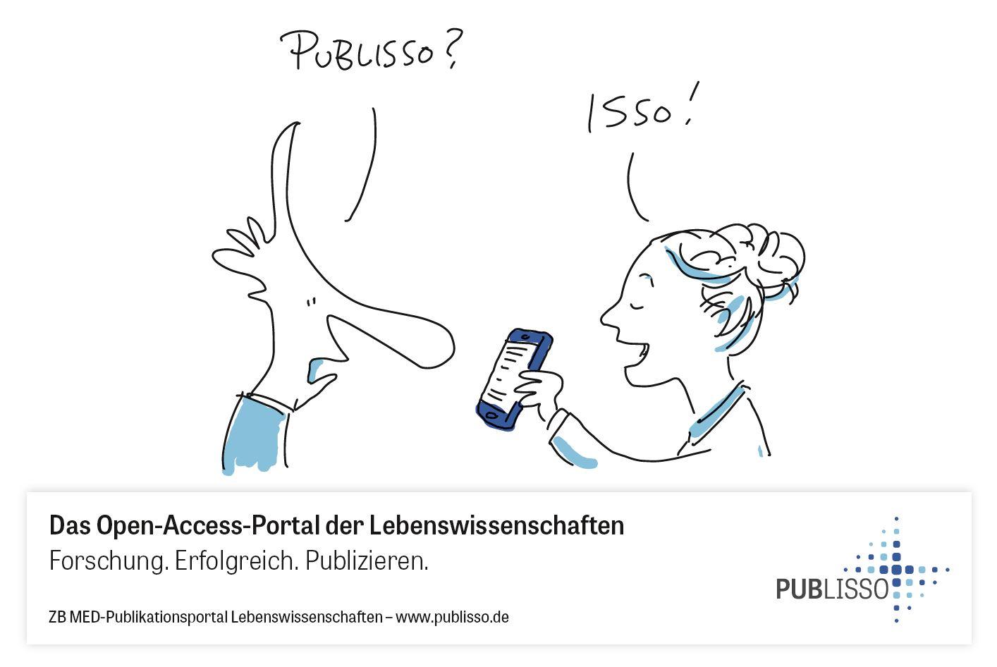 """Eine Frau zeigt einem Mann ihr Smartphone. Er fragt: """"Publisso?"""", sie antwortet ihm: """"Isso!""""."""