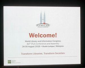 Willkommensschild auf der IFLA 2018
